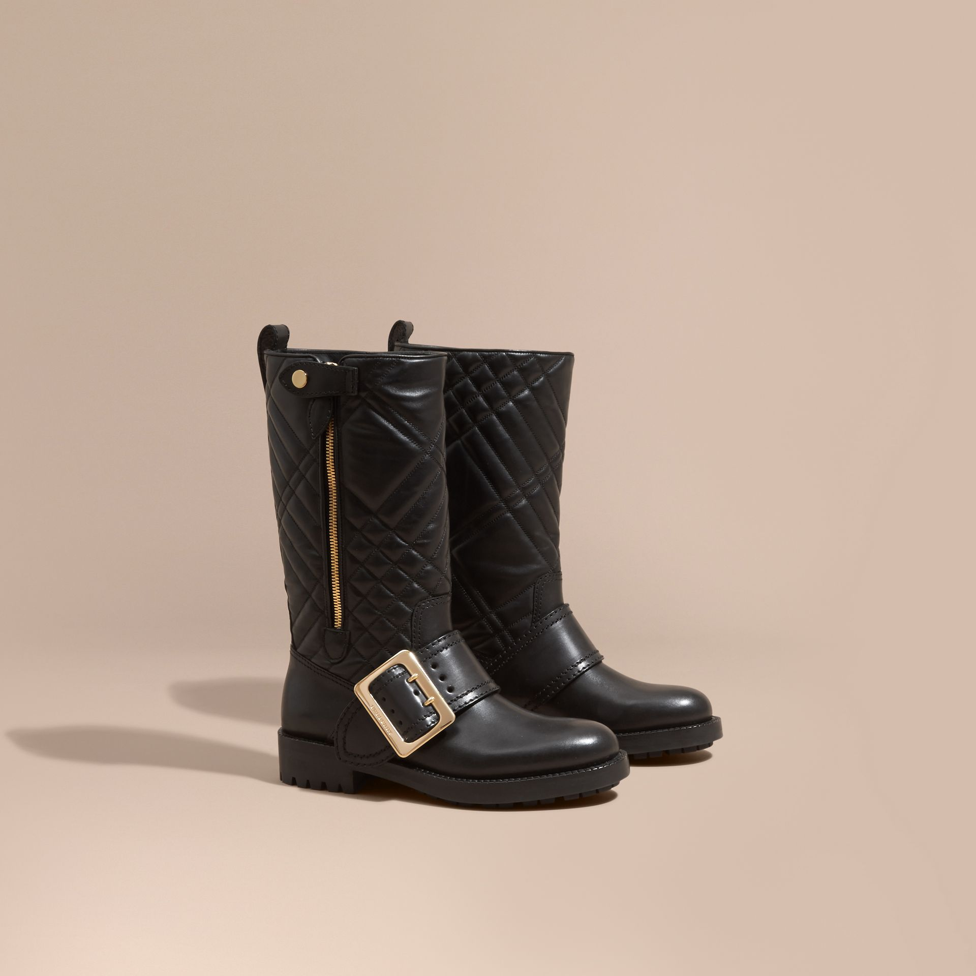 Black Buckle Detail Check Quilted Leather Boots - gallery image 1