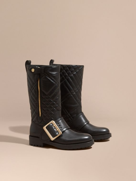 Buckle Detail Check Quilted Leather Boots