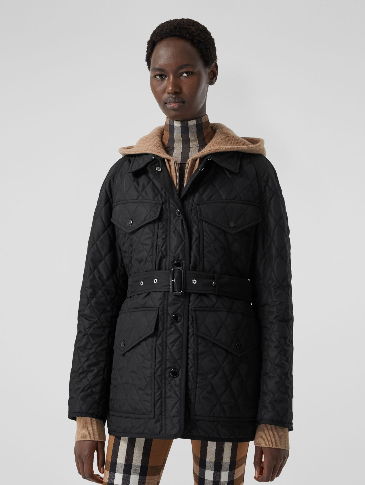 Diamond Quilted Nylon Canvas Field Jacket in Black