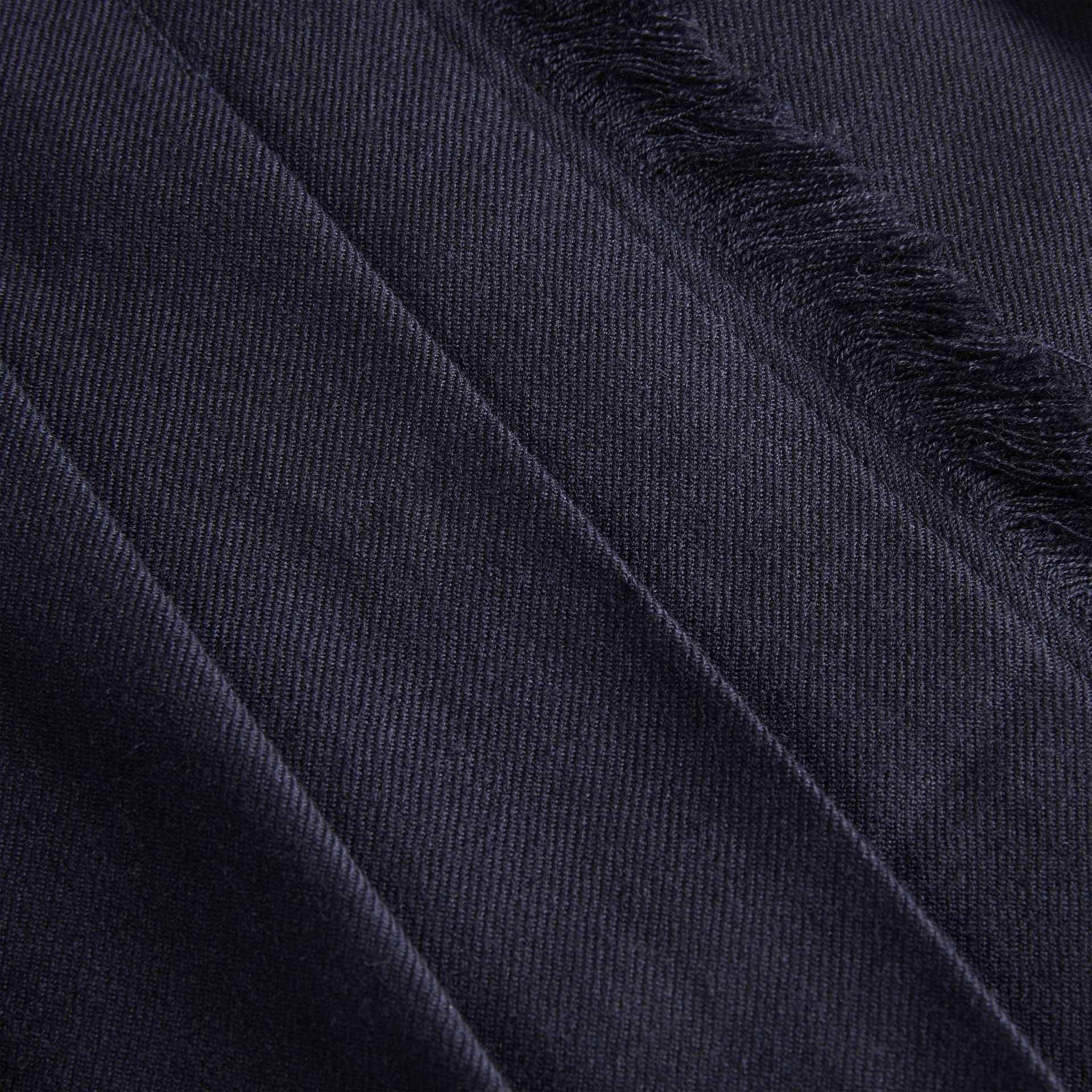 Fringe Detail Wool Twill Kilt in Navy | Burberry - gallery image 1