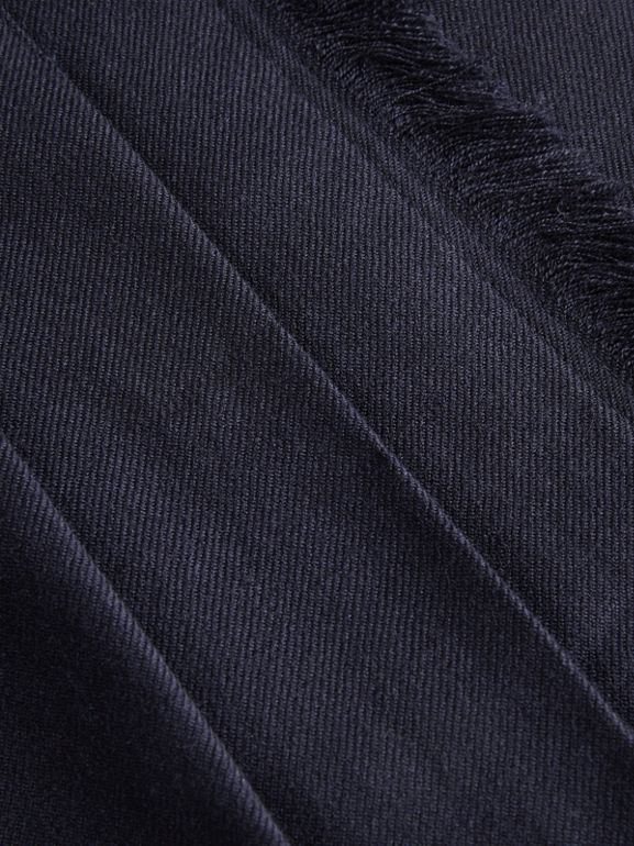 Fringe Detail Wool Twill Kilt in Navy | Burberry - cell image 1