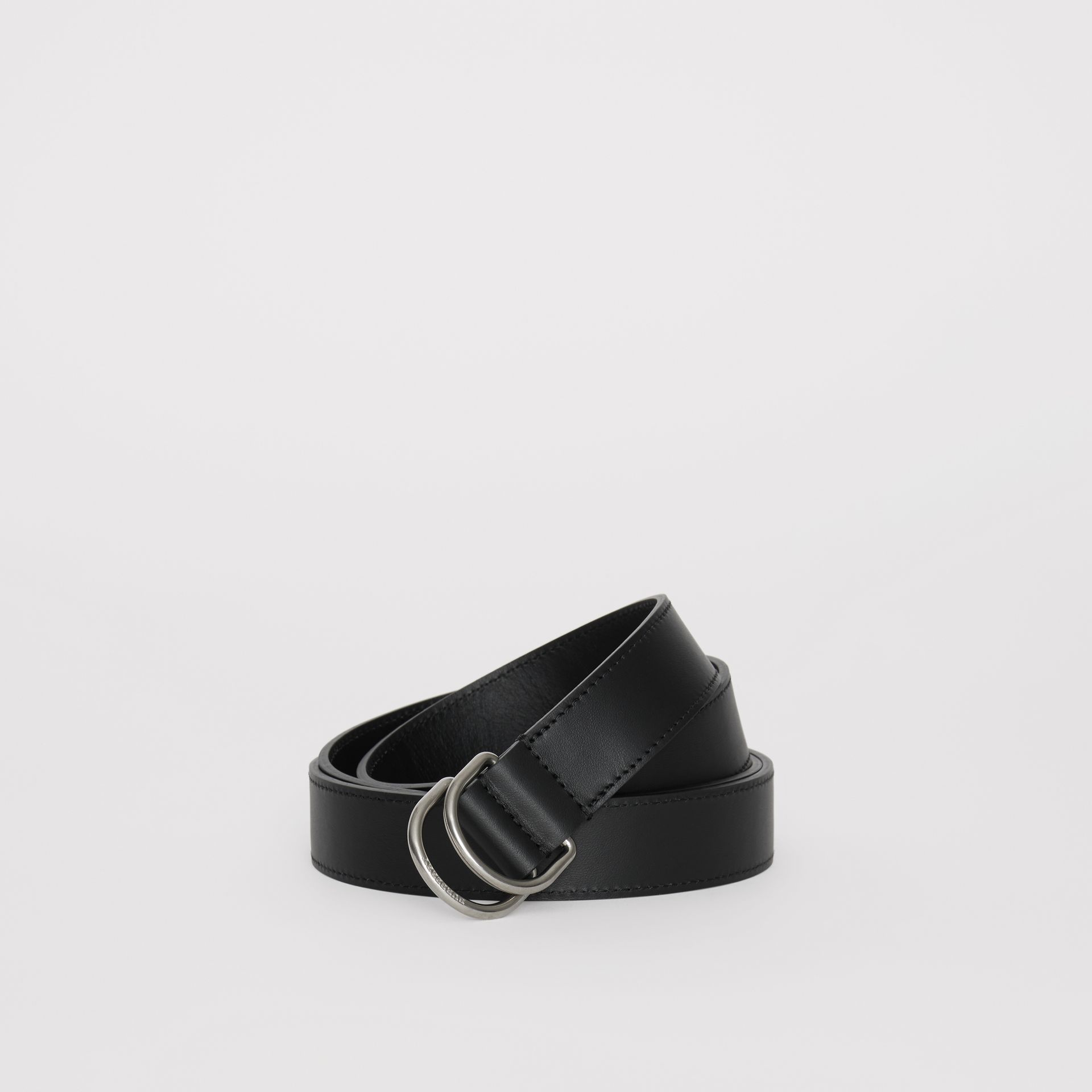 Leather Double D-ring Belt in Black - Men | Burberry - gallery image 0