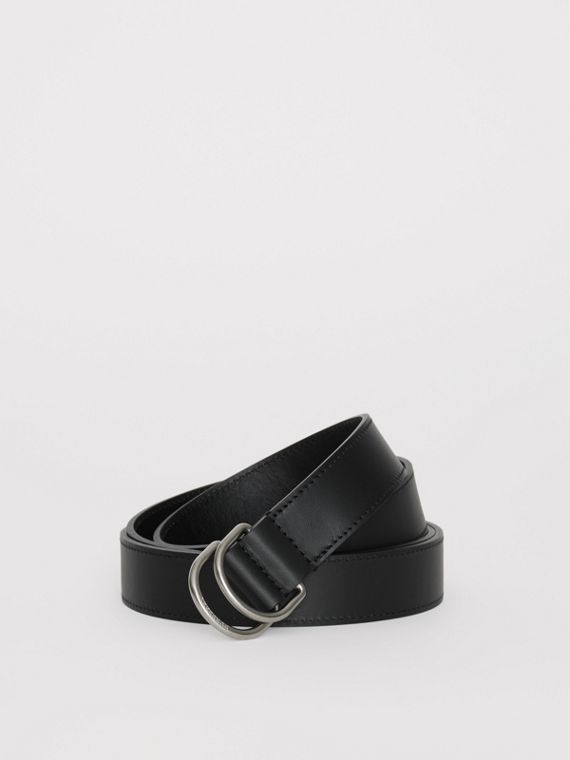 Leather Double D-ring Belt in Black