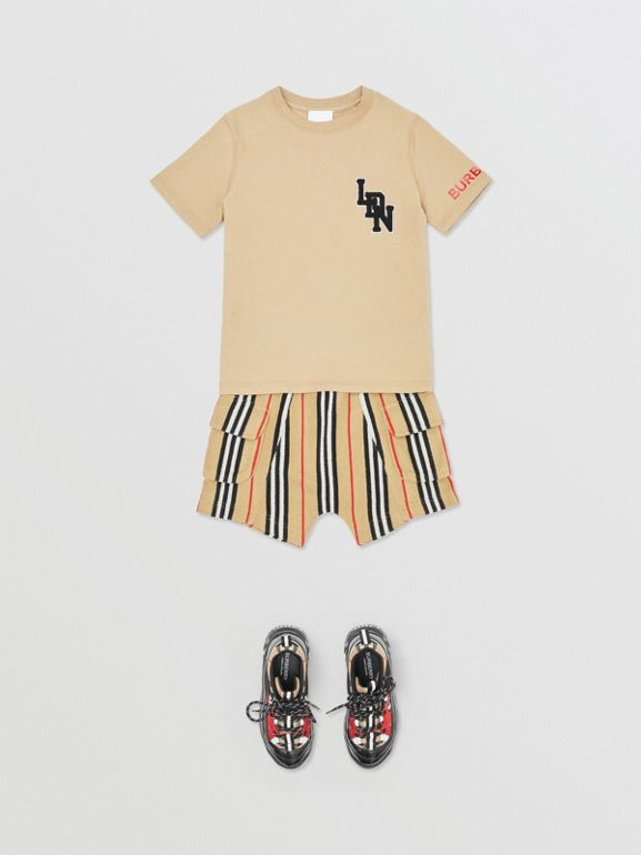 Logo Graphic Cotton T-shirt in Archive Beige | Burberry United Kingdom - cell image 1