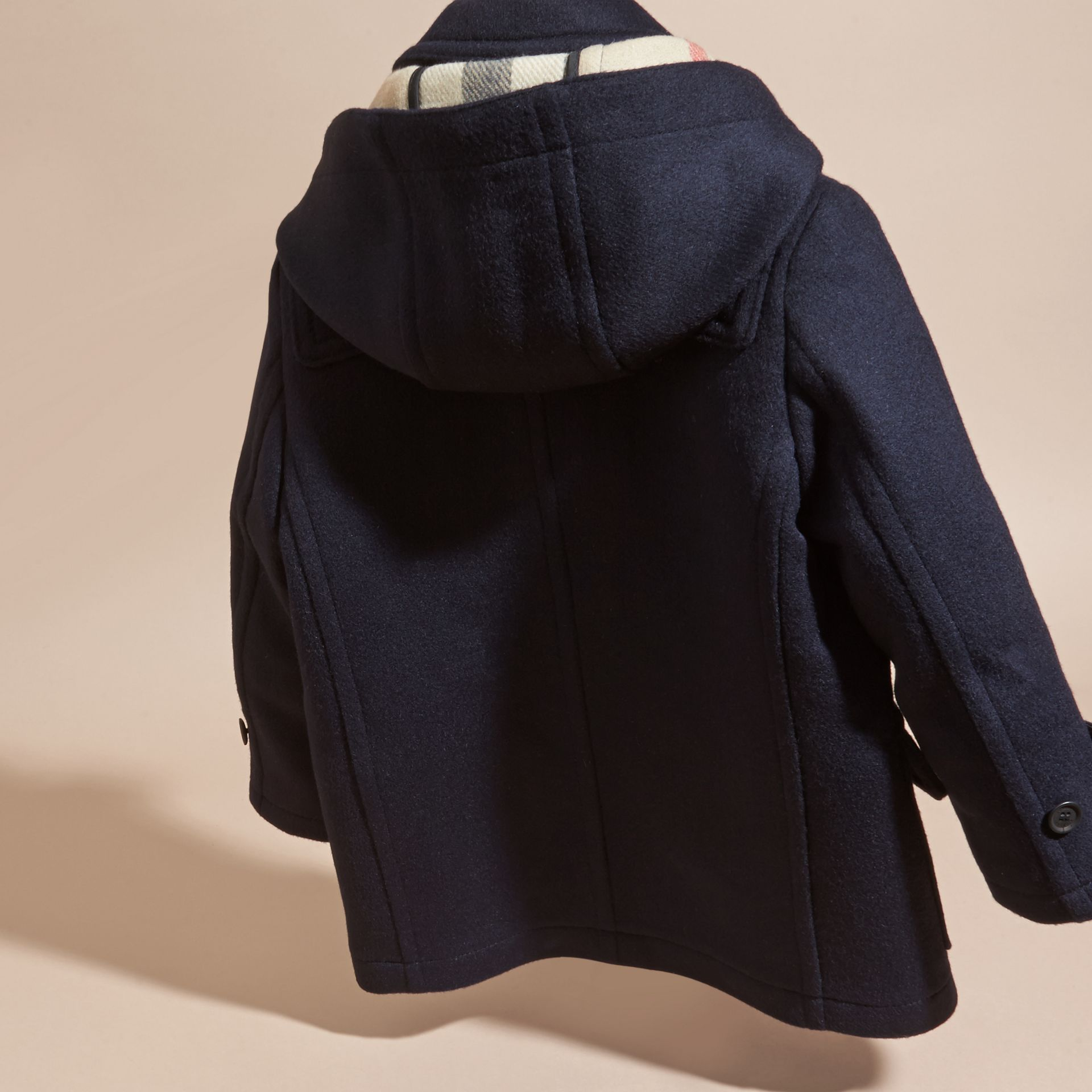 Dark indigo Wool Duffle Coat with Check-lined Hood Dark Indigo - gallery image 4