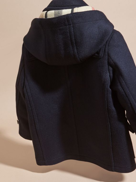 Dark indigo Wool Duffle Coat with Check-lined Hood Dark Indigo - cell image 3