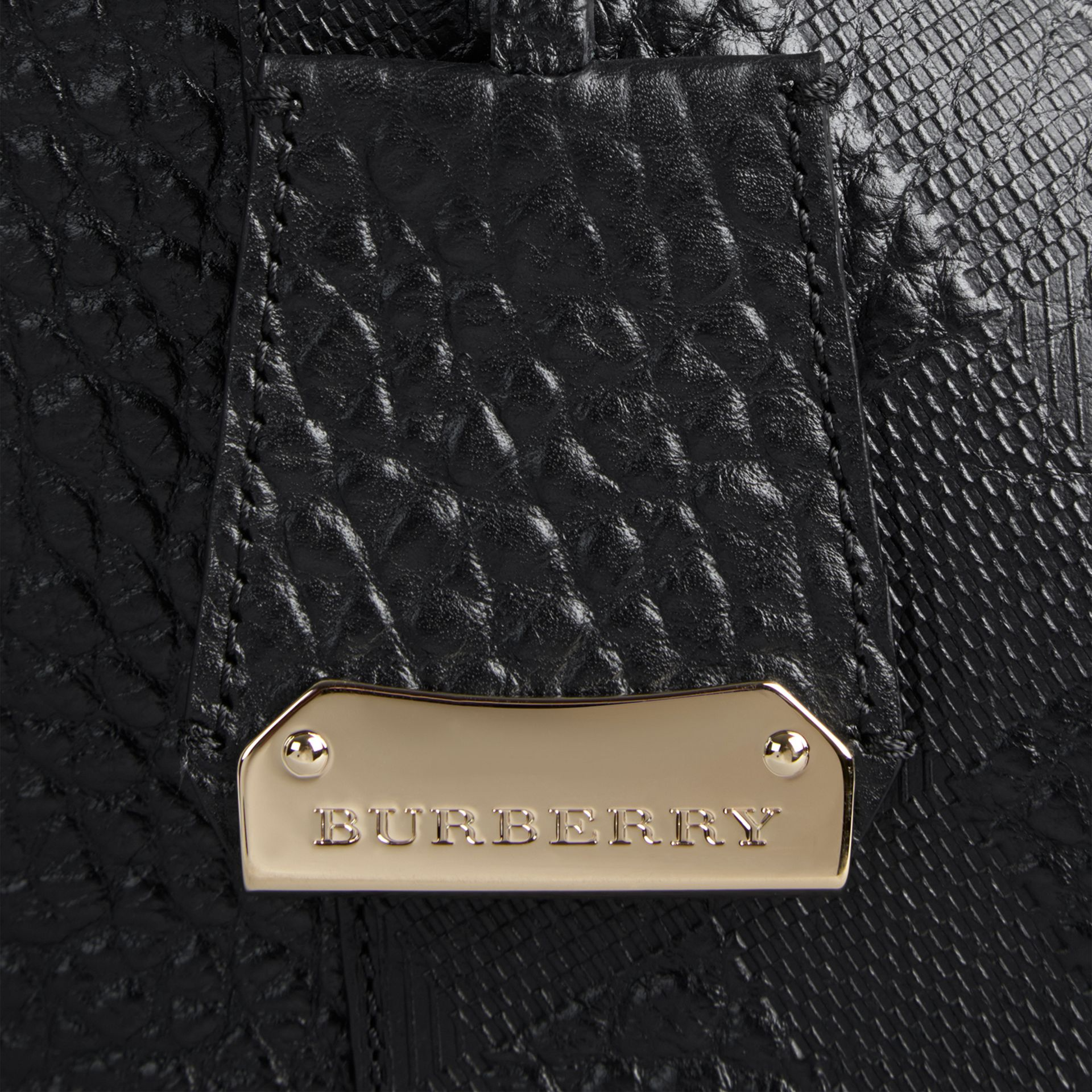 Black The Small Canter in Embossed Check Leather Black - gallery image 2