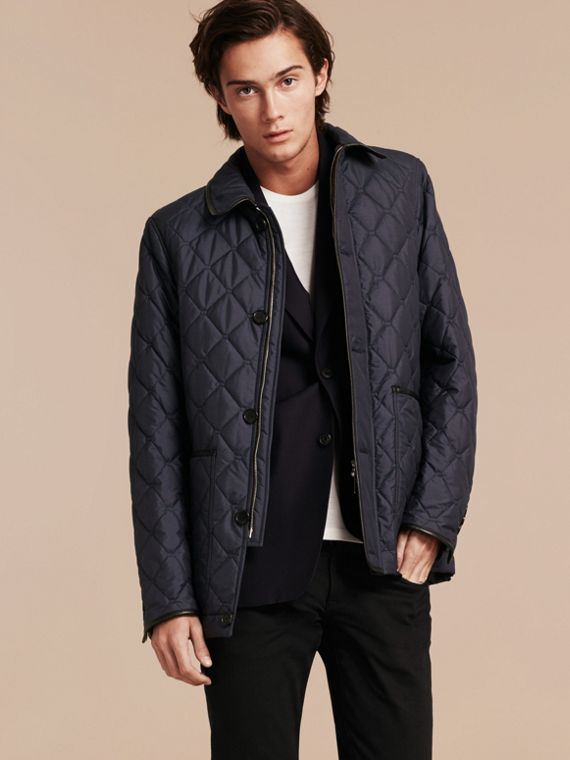 Bright steel blue Lightweight Quilted Jacket with Leather Trim - cell image 3