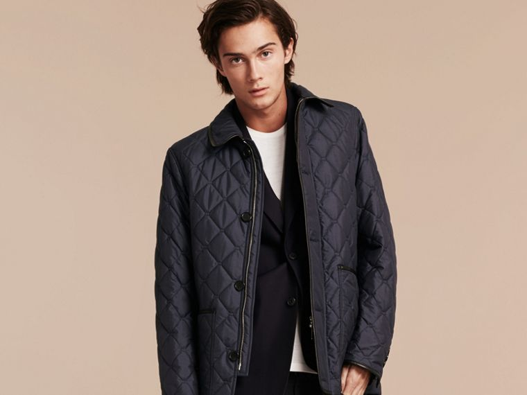 Bright steel blue Lightweight Quilted Jacket with Leather Trim - cell image 4