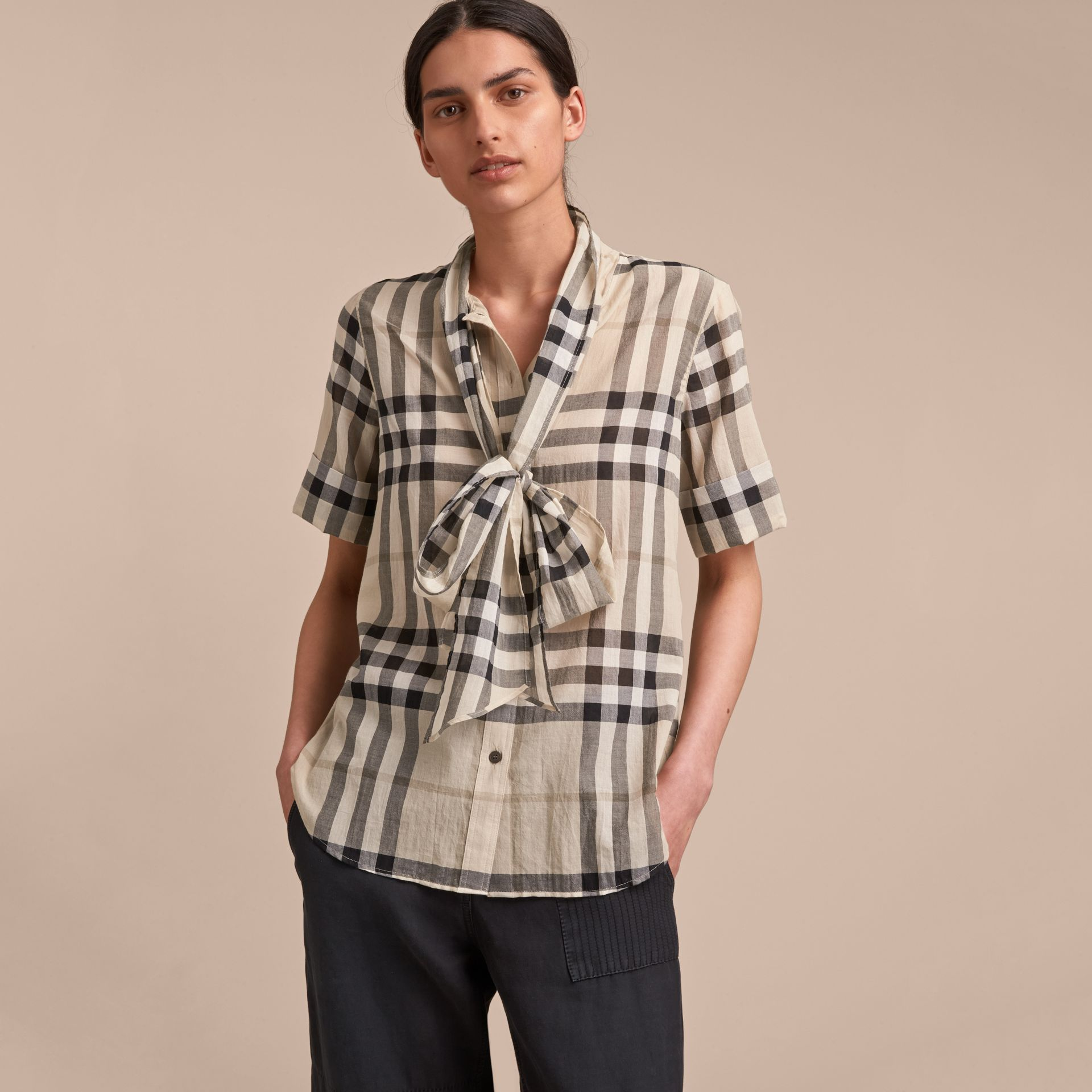 Short-sleeve Check Cotton Tie Neck Shirt in Chino - Women | Burberry - gallery image 6