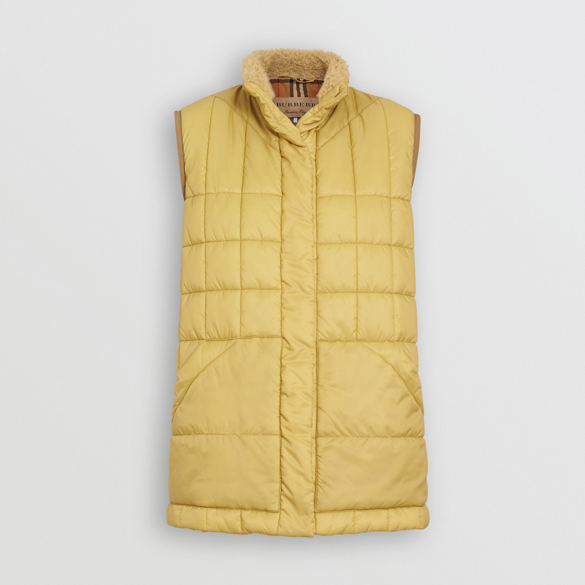 Faux Shearling Collar Lightweight Quilted Gilet in Yellow Quartz - Women | Burberry Australia - gallery image 3