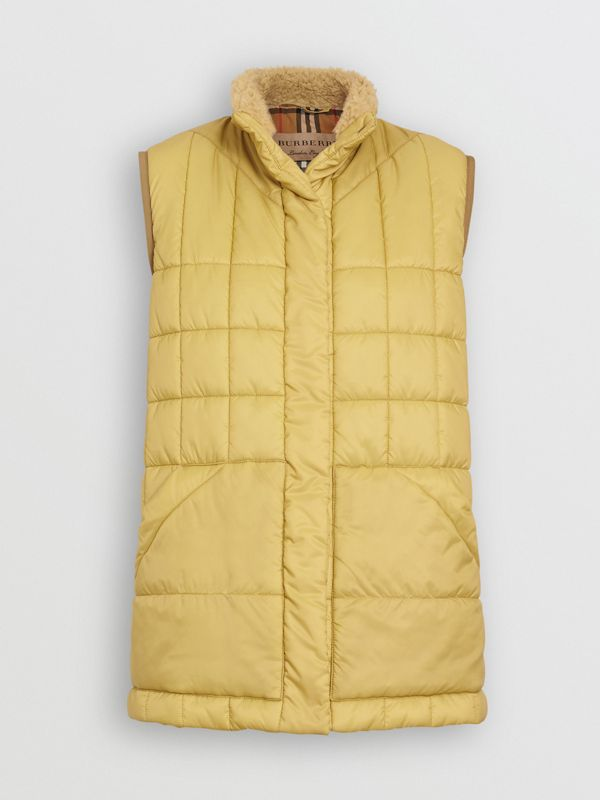 Faux Shearling Collar Lightweight Quilted Gilet in Yellow Quartz - Women | Burberry Australia - cell image 3