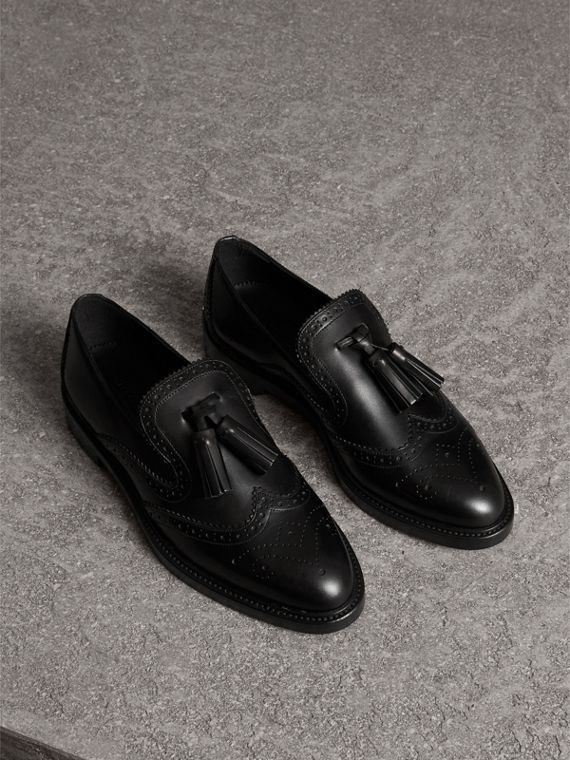 Leather Tassel Loafers in Black
