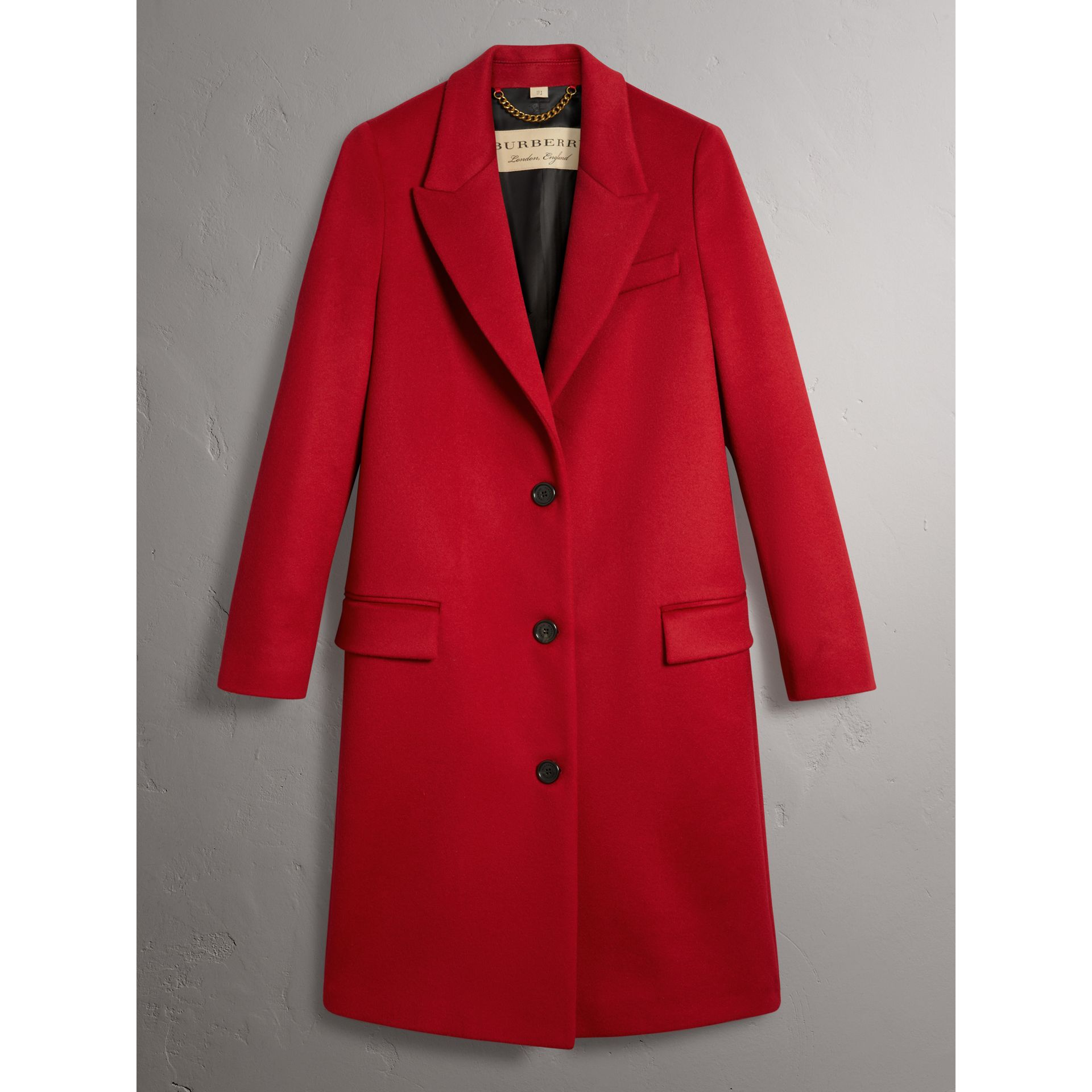 Wool Cashmere Tailored Coat in Parade Red - Women | Burberry Singapore - gallery image 3