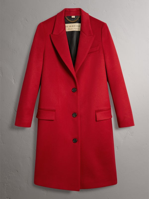 Wool Cashmere Tailored Coat in Parade Red - Women | Burberry - cell image 3