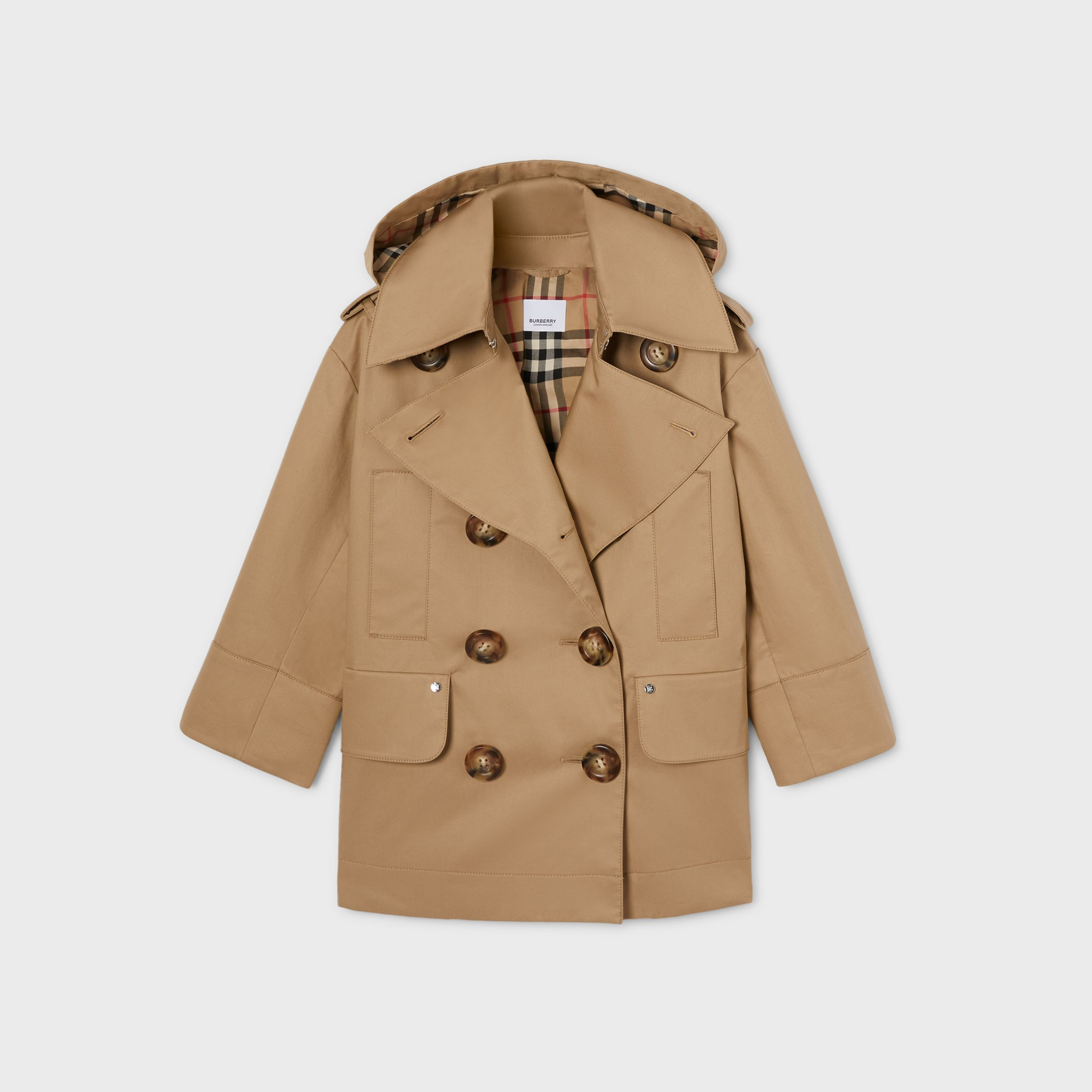 Cotton Twill Hooded Trench Coat in Honey | Burberry Canada - 1