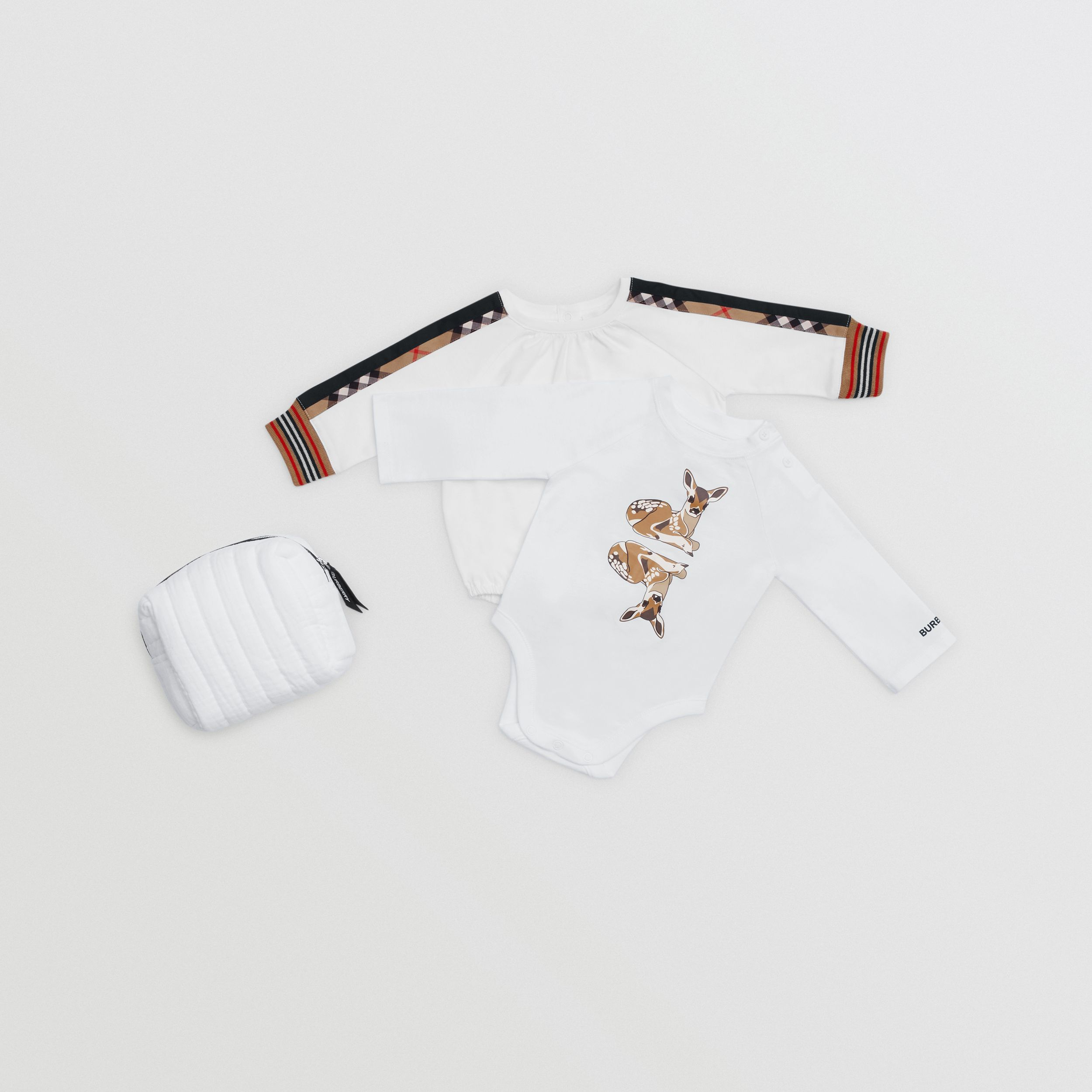 Deer Motif Cotton Two-piece Baby Gift Set in White - Children | Burberry - 1