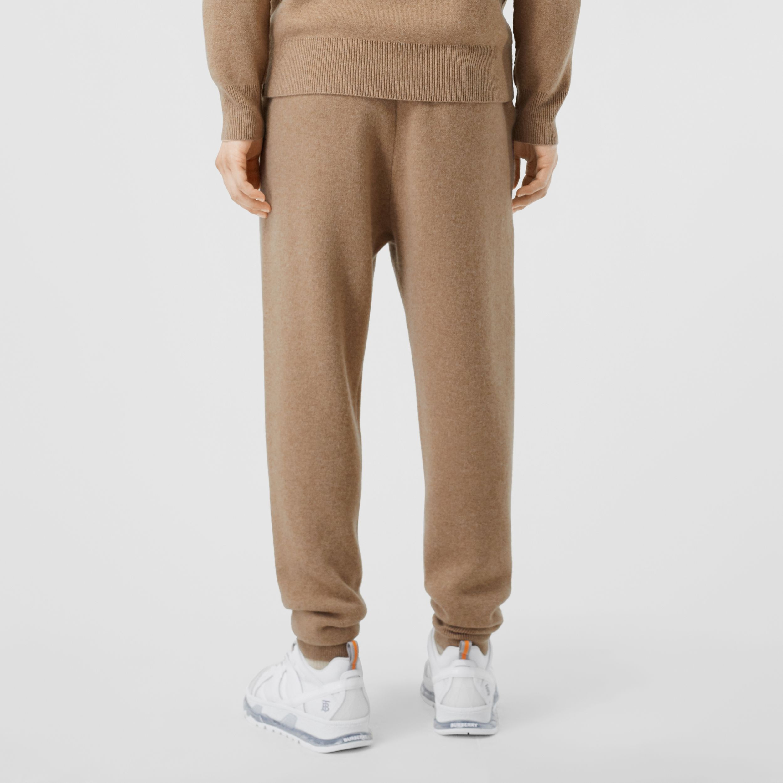 Monogram Motif Cashmere Blend Trackpants in Pale Coffee - Men | Burberry - 3