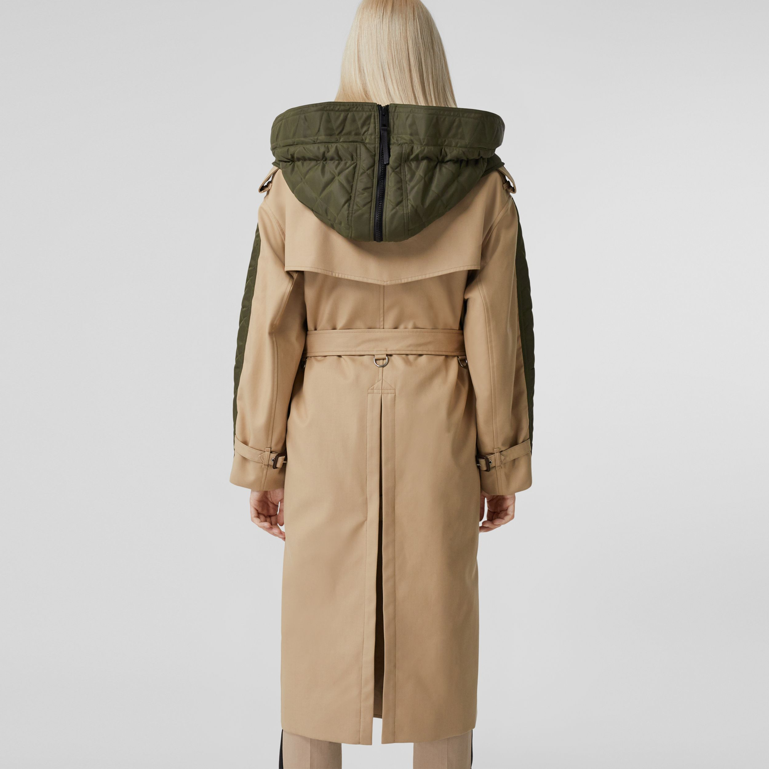 Detachable Hood Quilted Nylon and Cotton Parka in Olive Green | Burberry - 3