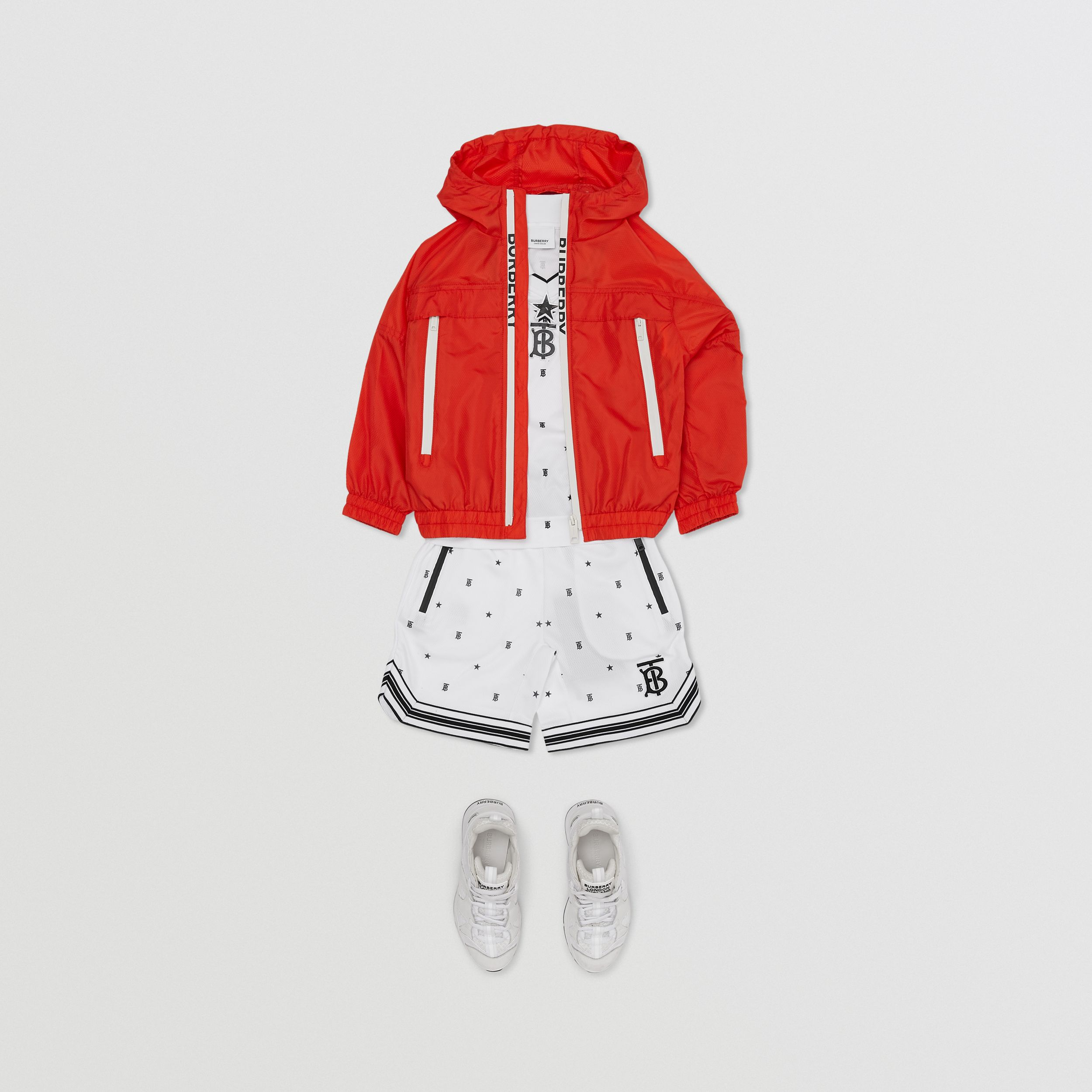 Logo Print Lightweight Hooded Jacket in Orange Red | Burberry - 4