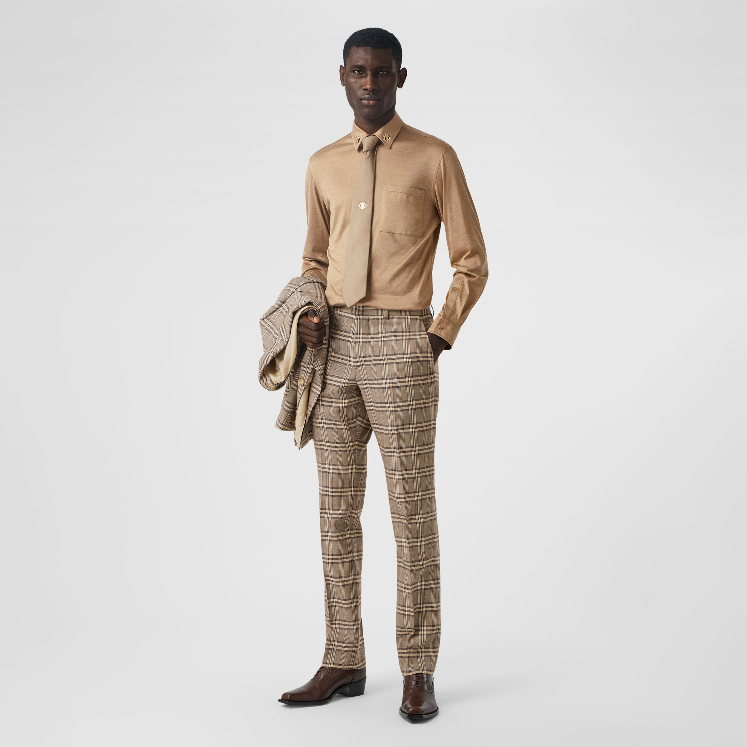 Prince of Wales Check Wool Silk Tailored Trousers in Dusty Caramel | Burberry Singapore - 1