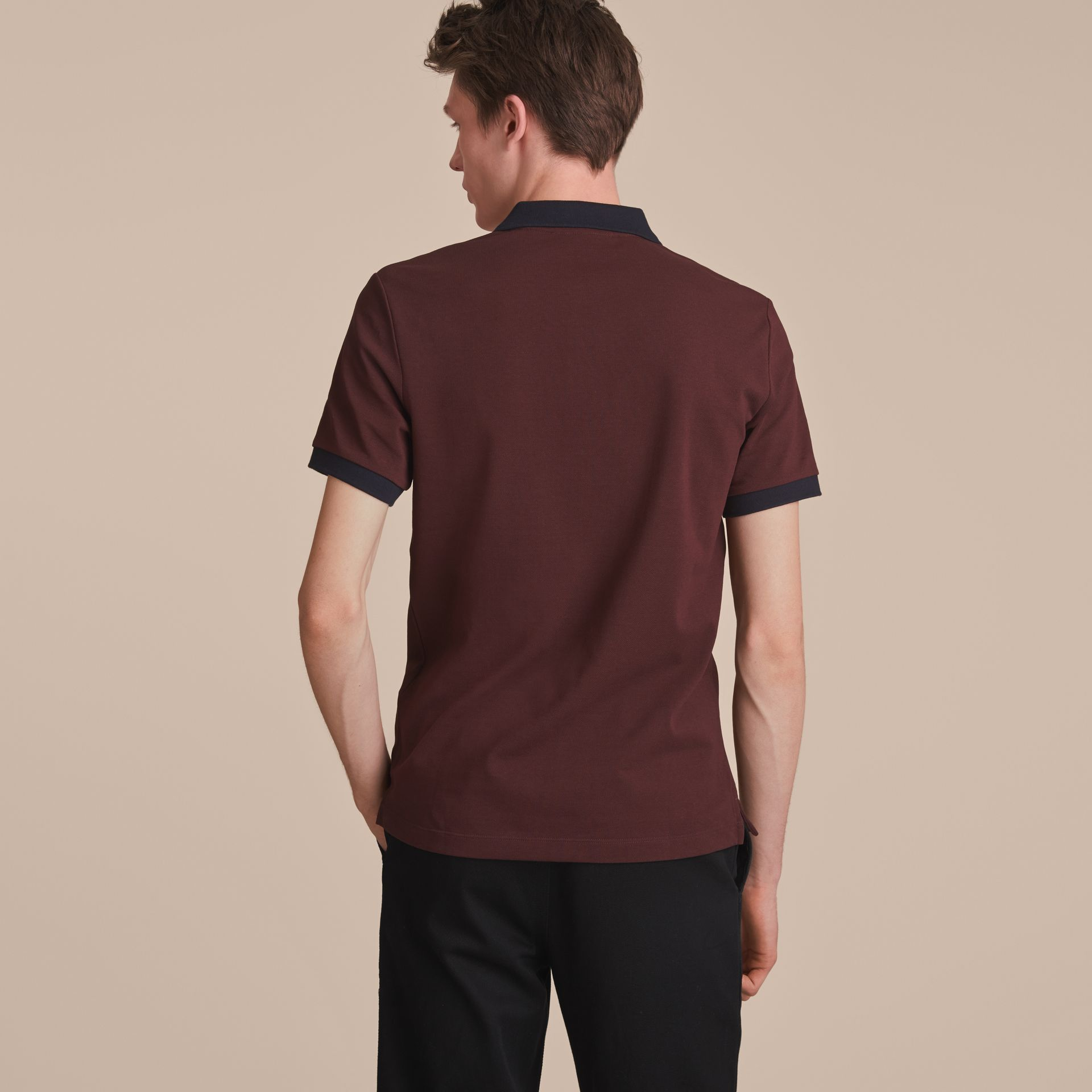 Two-tone Check Placket Cotton Piqué Polo Shirt in Deep Claret - gallery image 3