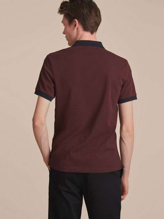 Two-tone Check Placket Cotton Piqué Polo Shirt in Deep Claret - cell image 2