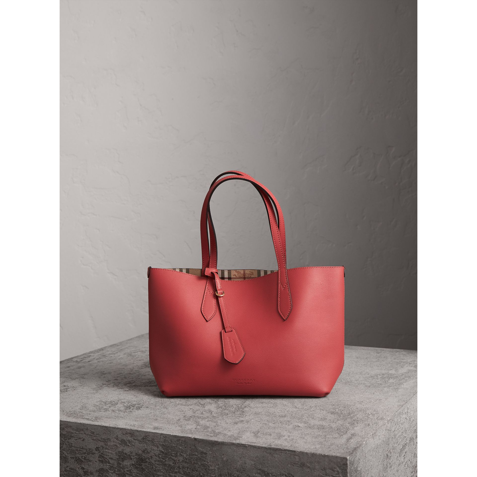 The Small Reversible Tote in Haymarket Check and Leather in Coral Red - Women | Burberry - gallery image 1