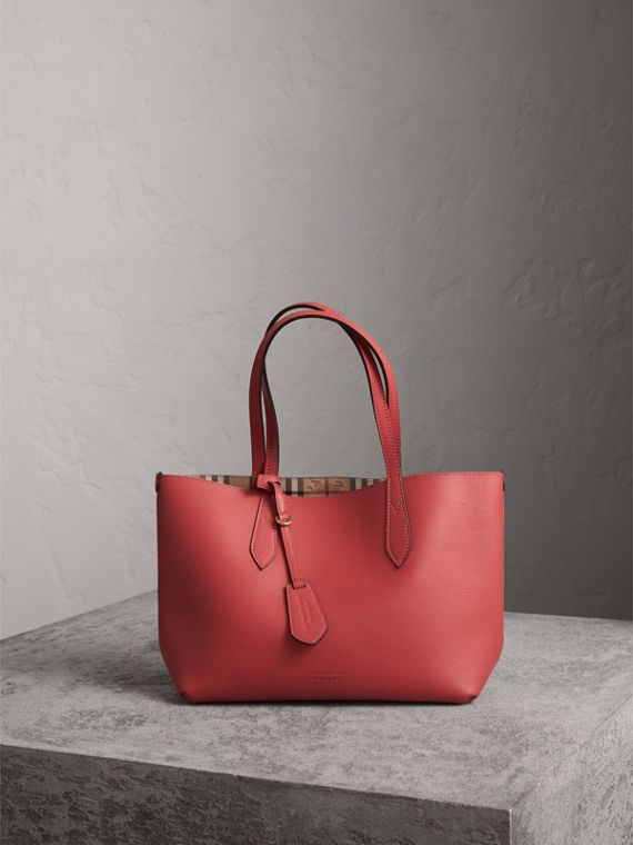 The Small Reversible Tote in Haymarket Check and Leather in Coral Red
