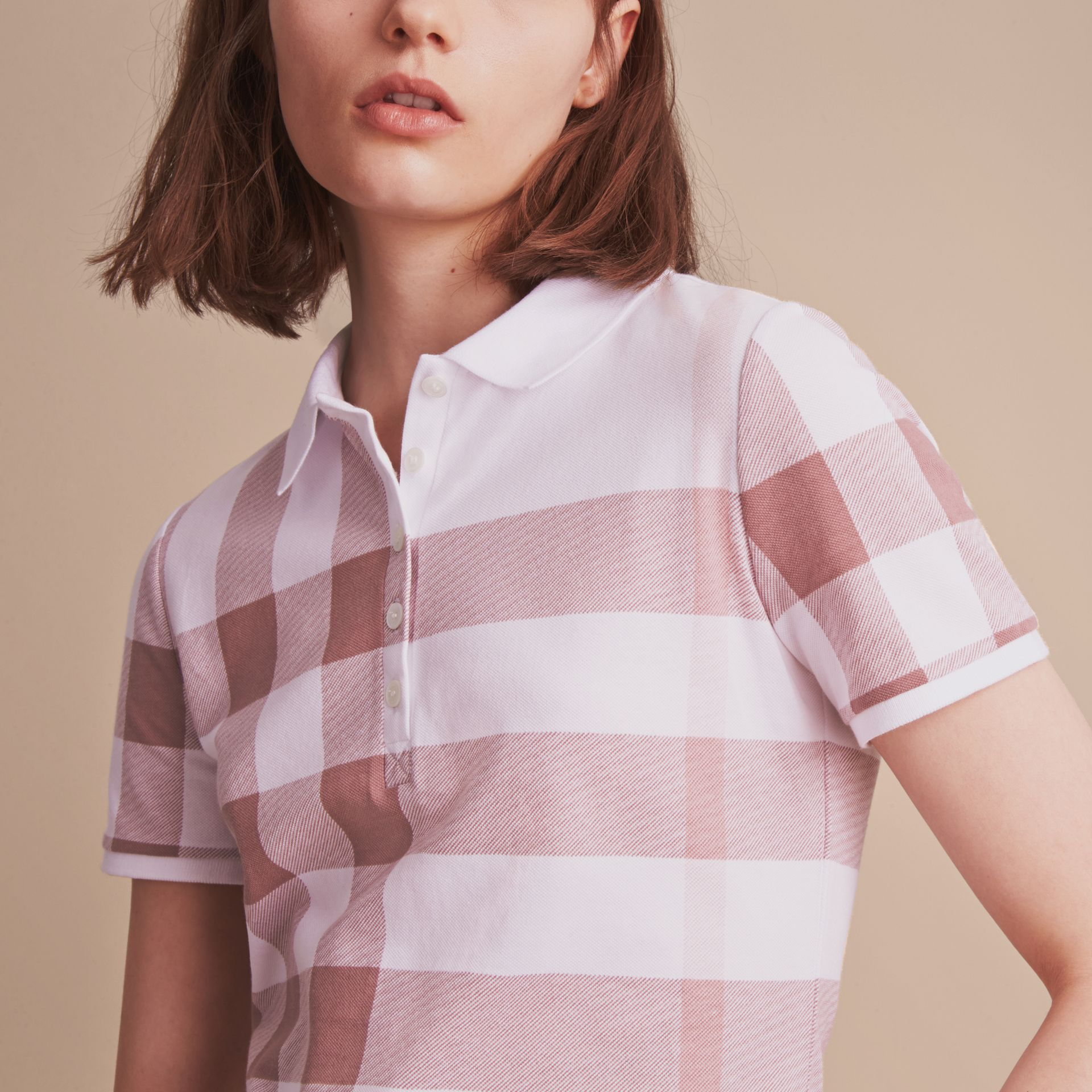 Check Stretch Cotton Piqué Polo Shirt in Antique Rose - Women | Burberry - gallery image 5