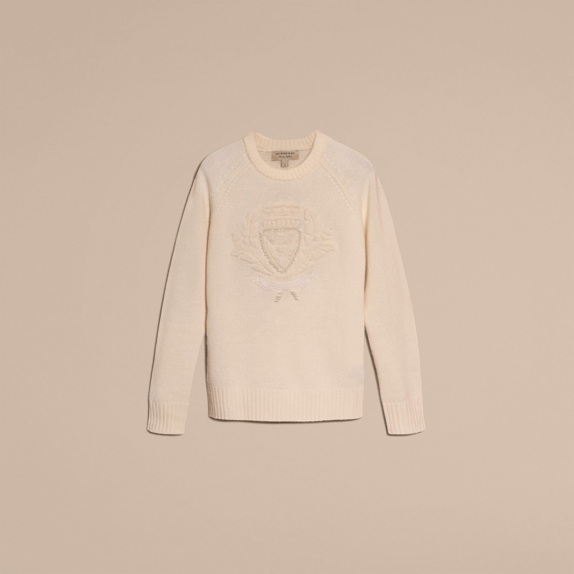 Natural white Embroidered Crest Wool Sweater - gallery image 4