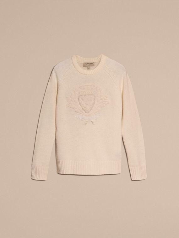 Natural white Embroidered Crest Wool Sweater - cell image 3
