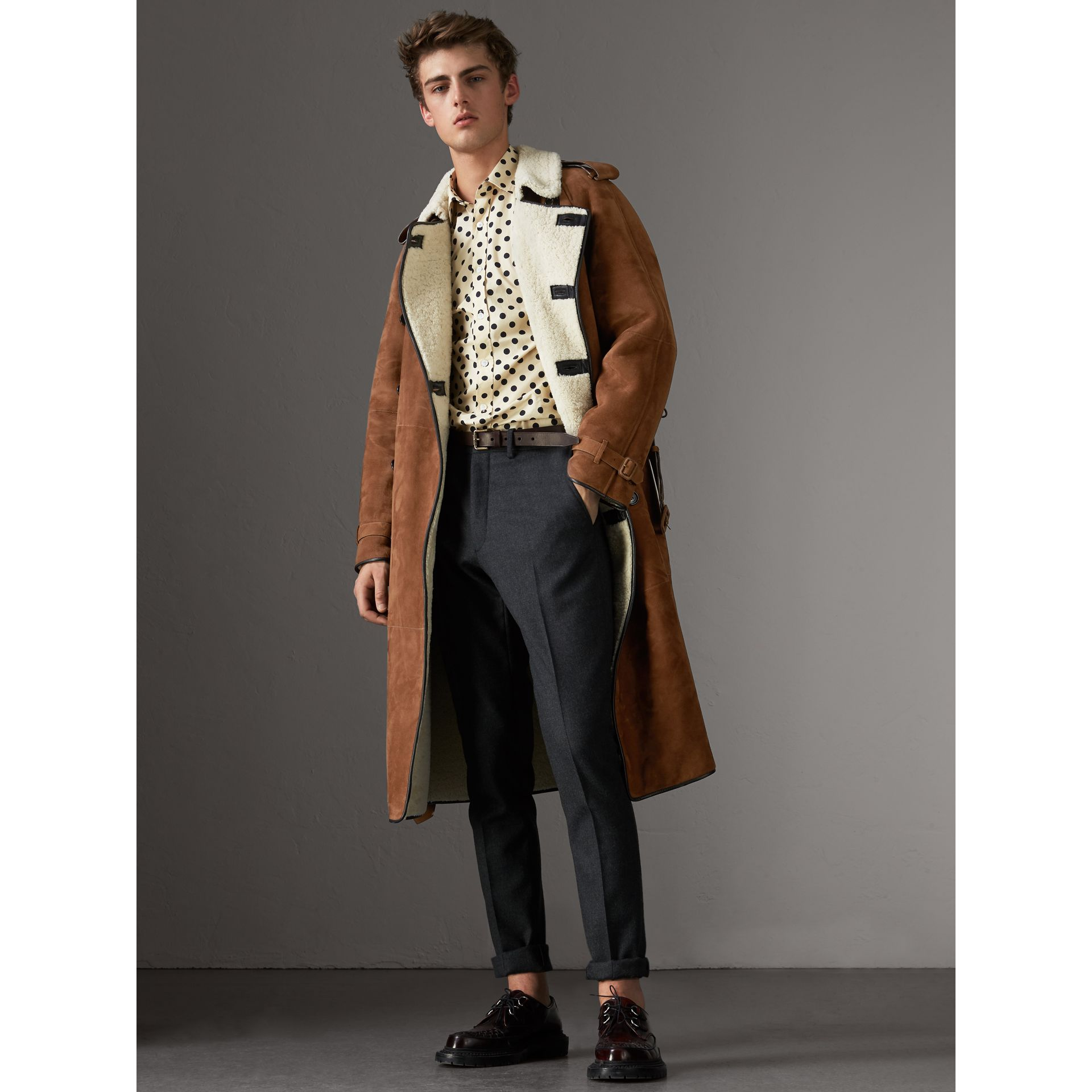 Suede and Shearling Trench Coat in Tan - Men | Burberry - gallery image 0