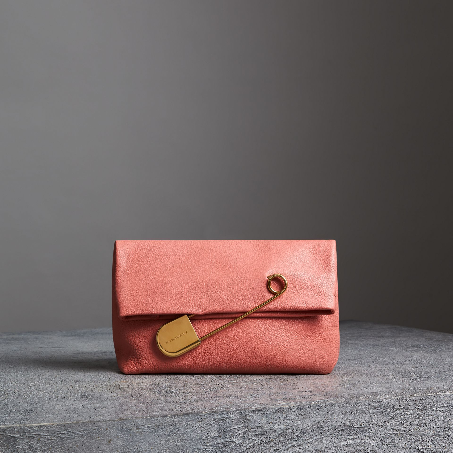 The Medium Pin Clutch in Leather in Bright Coral Pink - Women | Burberry United Kingdom - gallery image 0