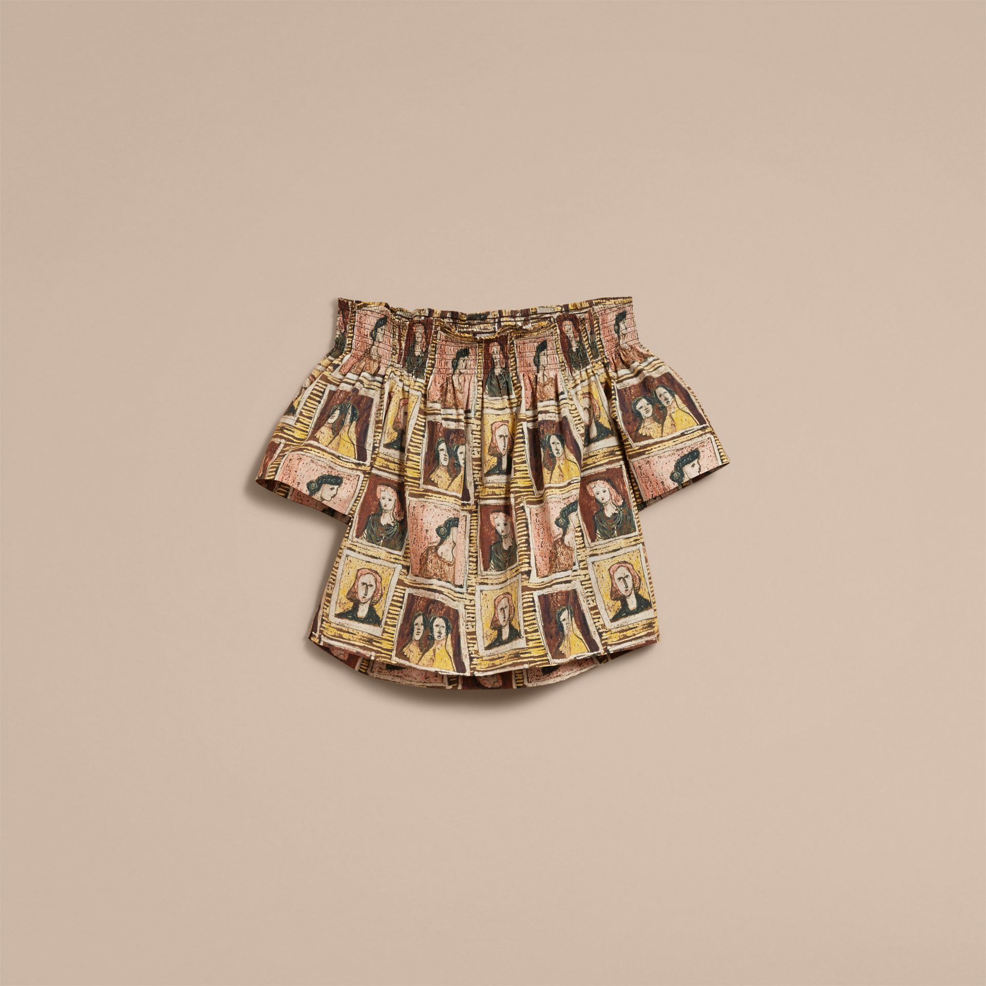 Off-the-shoulder Framed Heads Print Cotton Top in Umber Brown - Women | Burberry - gallery image 4