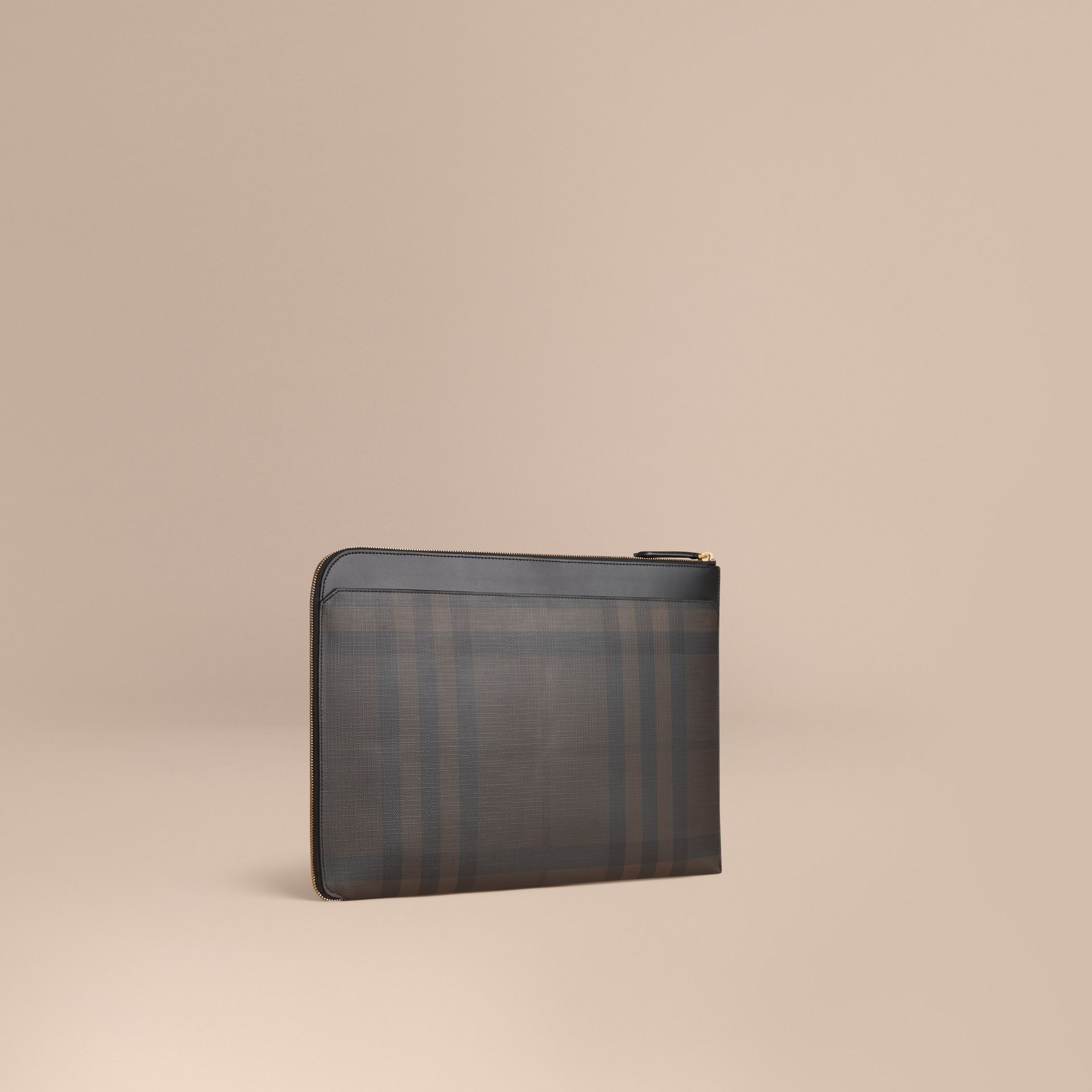 London Check Document Case in Black/chocolate - gallery image 1