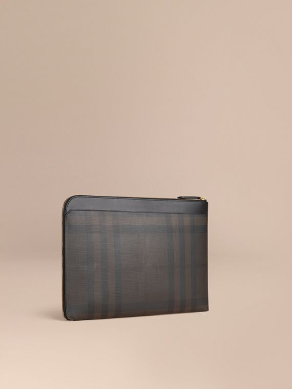 London Check Document Case Black/chocolate