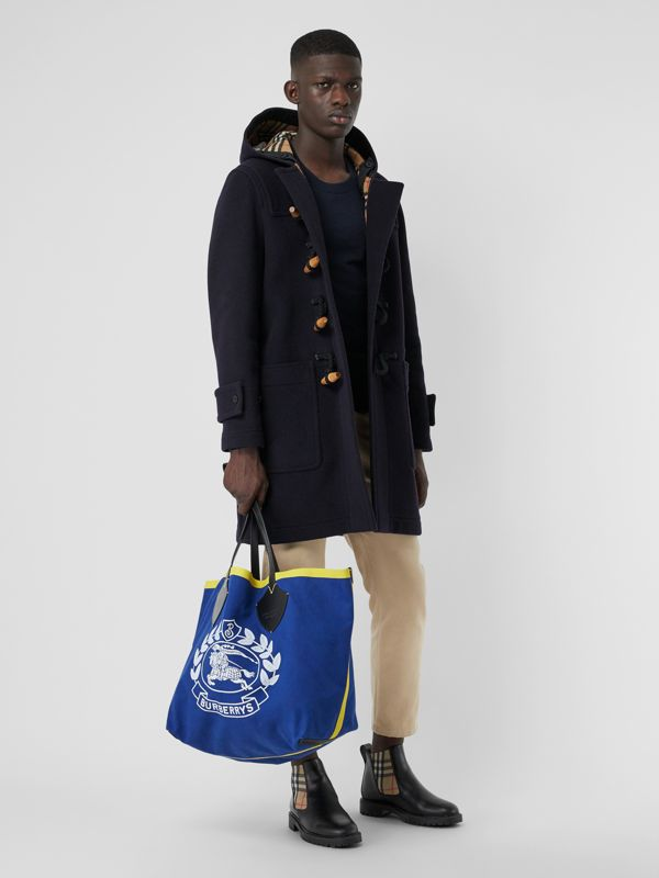 The Giant Tote in Archive Logo Cotton in Navy | Burberry United Kingdom - cell image 3