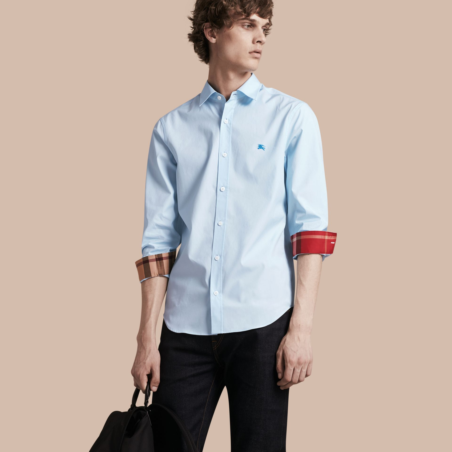 Check Detail Stretch Cotton Shirt in Pale Blue - Men | Burberry - gallery image 1