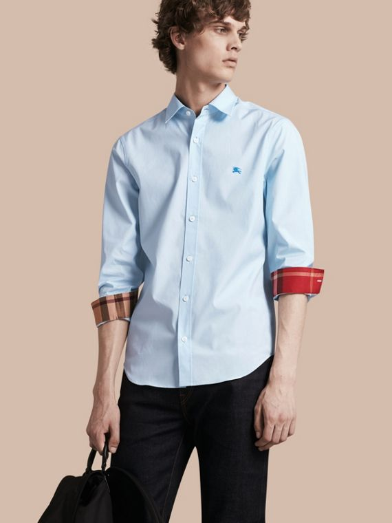 Check Detail Stretch Cotton Shirt Pale Blue