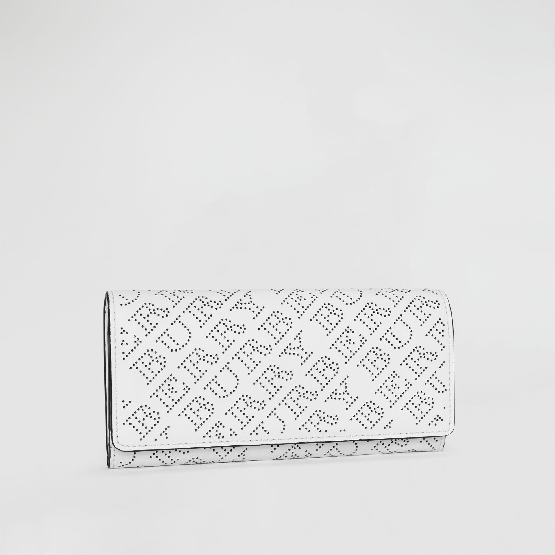 Perforated Logo Leather Continental Wallet in White - Women | Burberry - gallery image 4