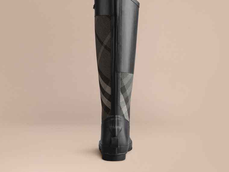 Charcoal Check Panel Rain Boots - cell image 2