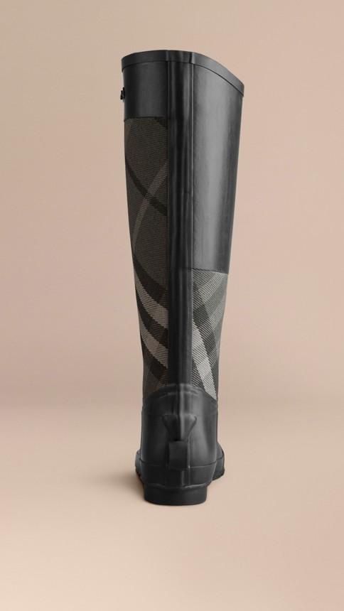 Charcoal Check Panel Rain Boots Charcoal - Image 3