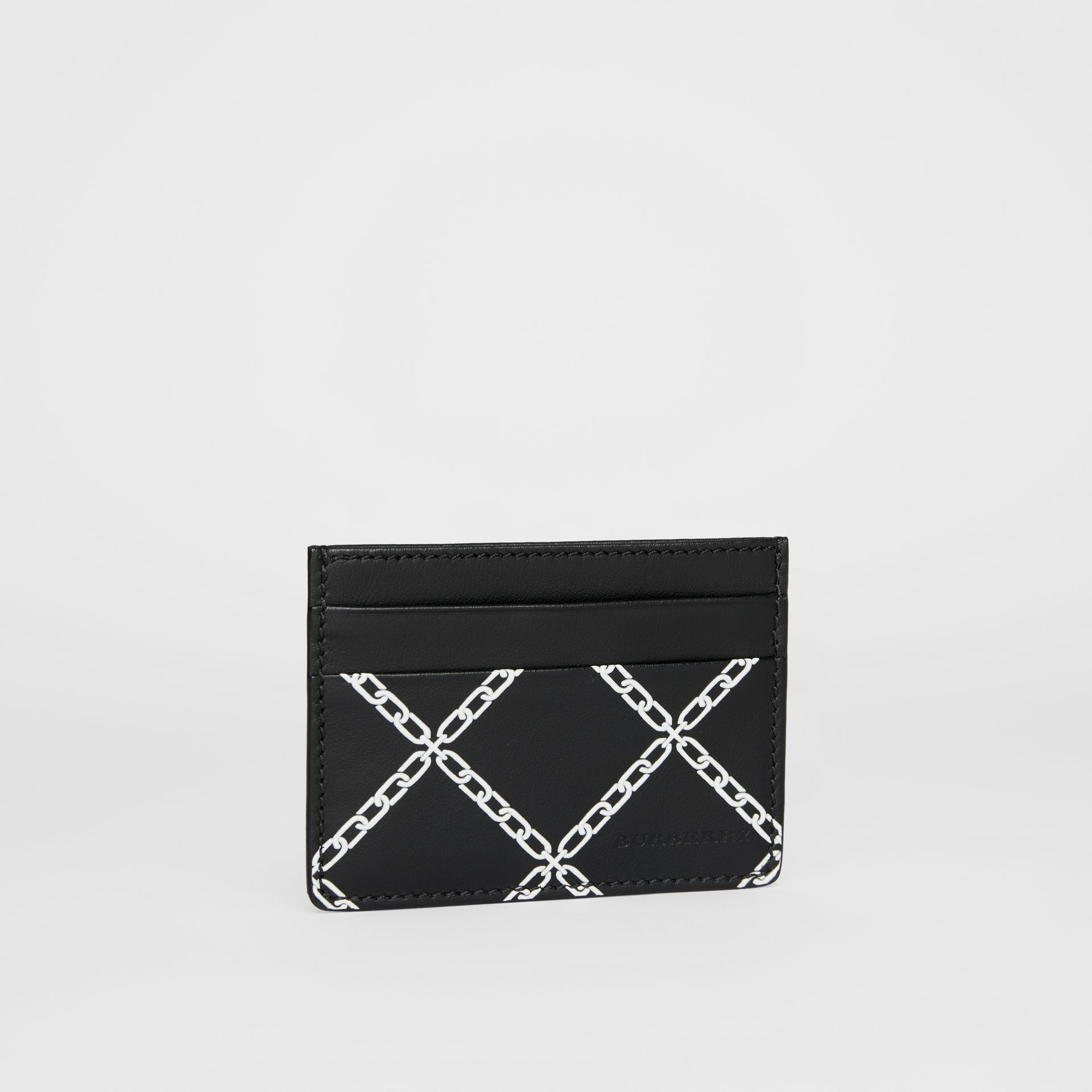Link Print Leather Card Case in Black/chain | Burberry - gallery image 4