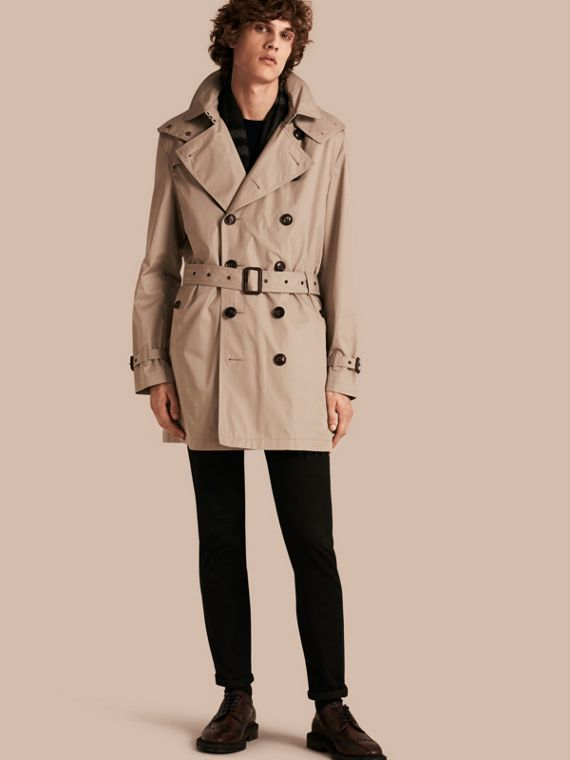Cotton Trench Coat with Detachable Hood in Taupe