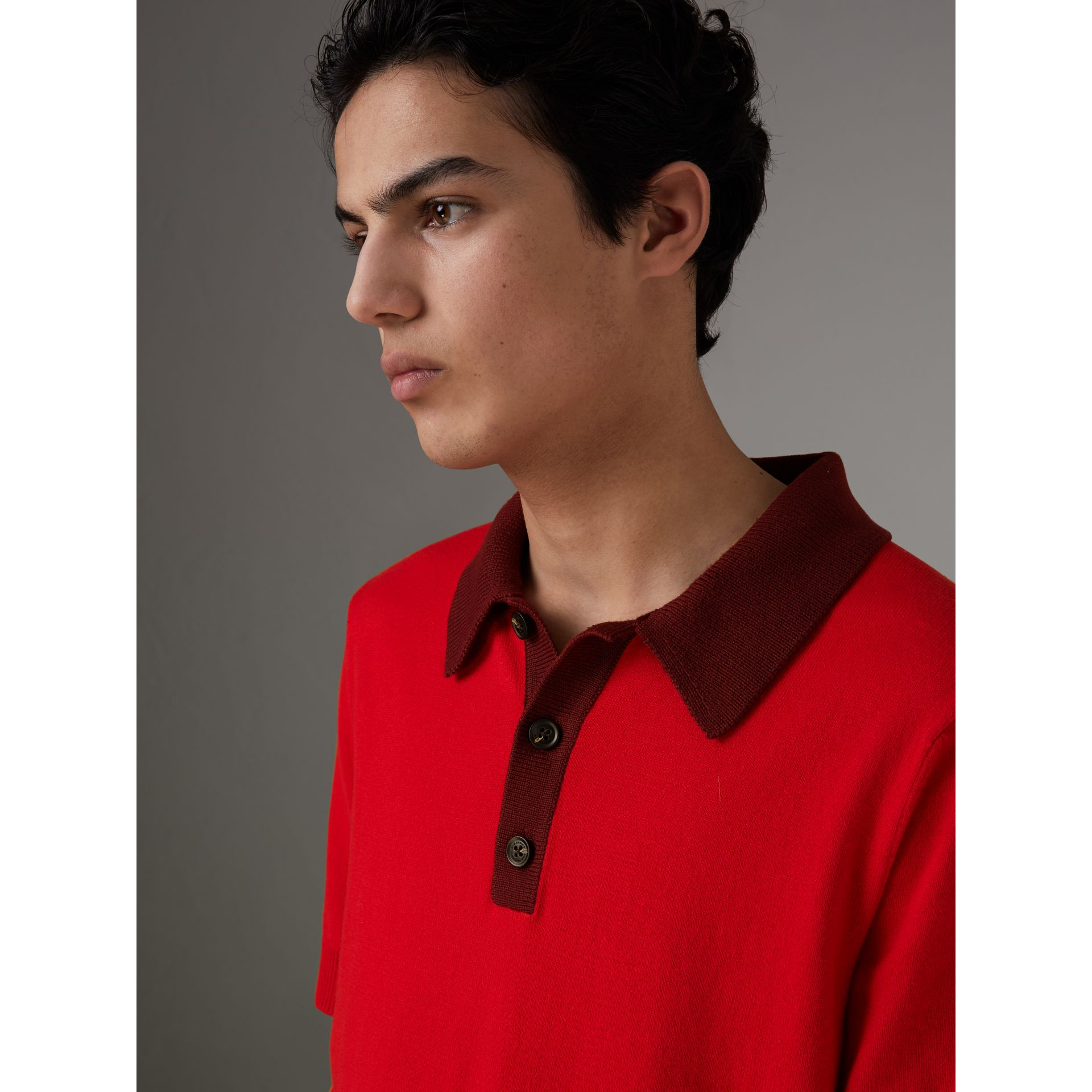 Two-tone Knitted Cotton Polo Shirt in Bright Red - Men | Burberry - gallery image 1