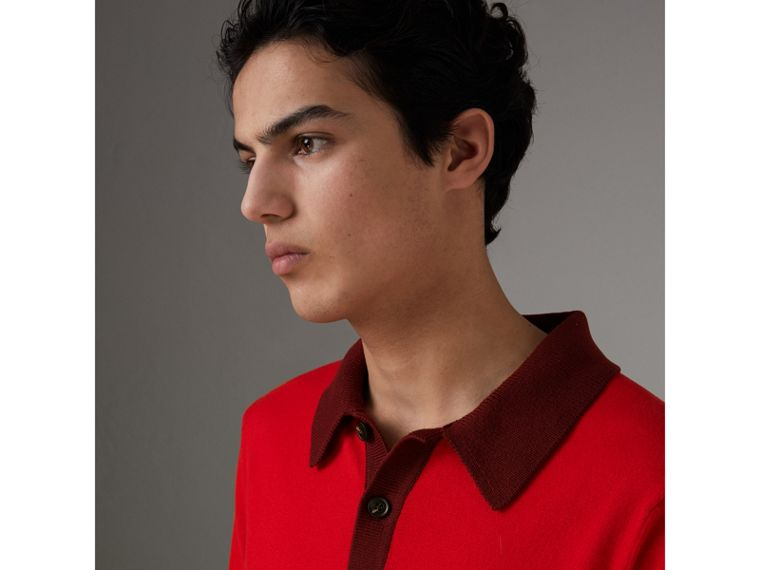 Two-tone Knitted Cotton Polo Shirt in Bright Red - Men | Burberry Australia - cell image 1