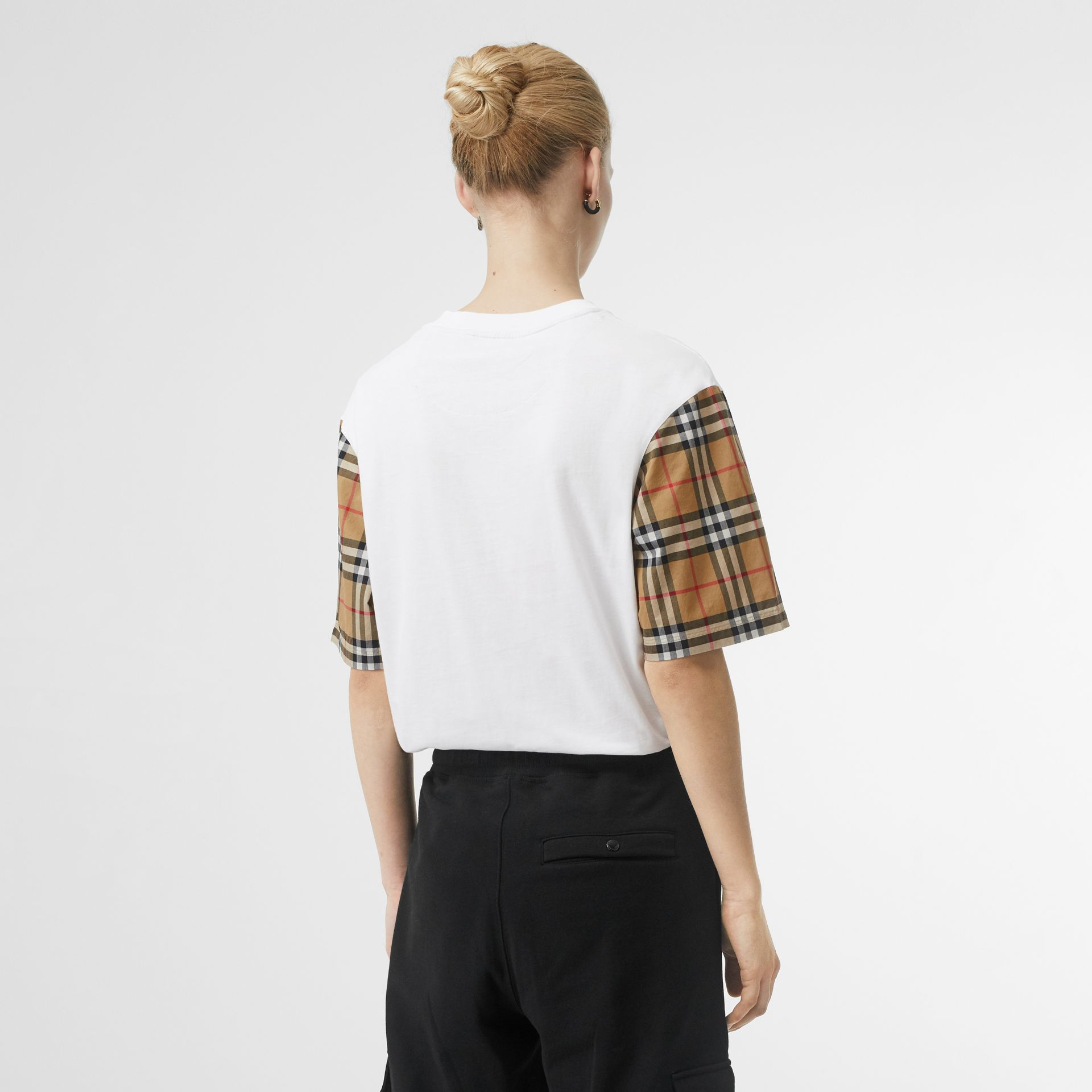 Vintage Check Sleeve Cotton T-shirt in White - Women | Burberry Canada - gallery image 2