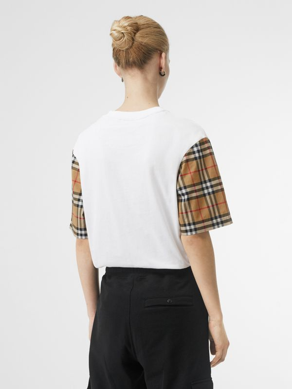 Vintage Check Sleeve Cotton T-shirt in White - Women | Burberry Canada - cell image 2