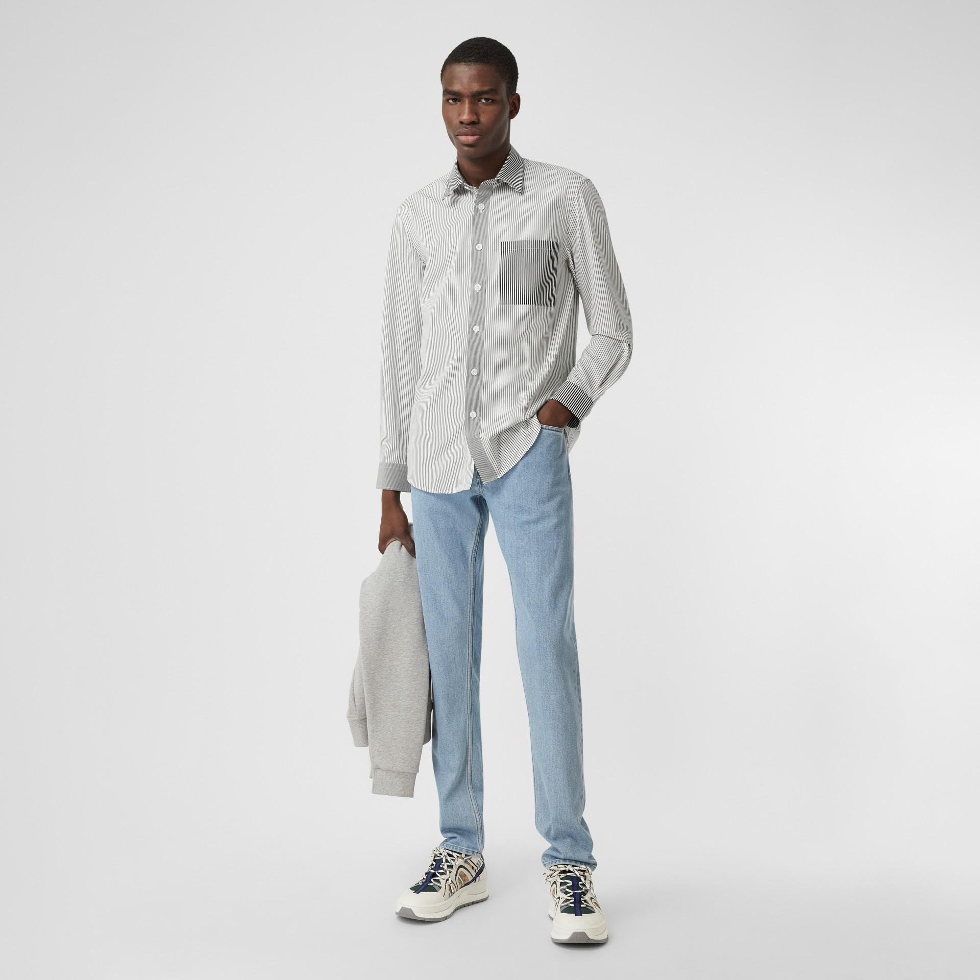 Straight Fit Japanese Denim Jeans in Light Indigo Blue - Men   Burberry - gallery image 5